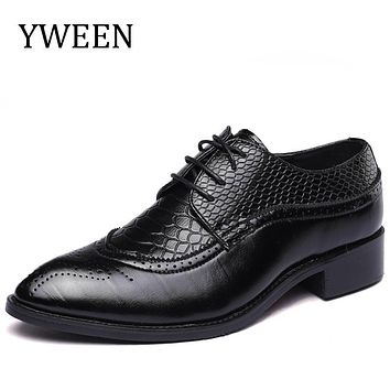 YWEEN Elegant Pointed Toe Man Oxfords Leather Formal Dress Shoes Busuness Wedding Party Office Men's Flats Big size 38-48