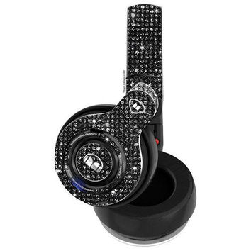Custom Black Elements Monster Bedazzled Headphones made with Swarovski Crystals, Wireless Over-Ear Monster Headphones, Bedazzled headphones,