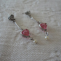 Swarovski Pink Crystal Faux Pearl Heart Pierced Dangle Earrings