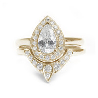 Pear Shaped Diamond Engagement Ring with Matching Side Diamond Band - The 3rd Eye