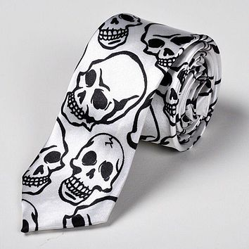 Fashion Skull Pattern Necktie Mens 5cm Casual Printed