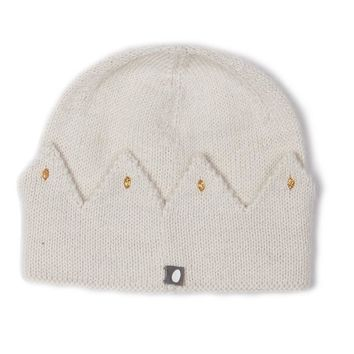 White Crown Alpaca Wool Knit Hat
