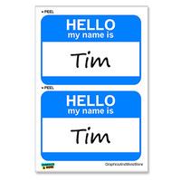 Tim Hello My Name Is - Sheet of 2 Stickers
