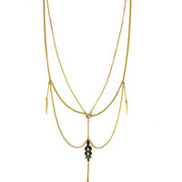 Bcbgeneration Gold Tone and Crystal Multi Row Draped Necklace