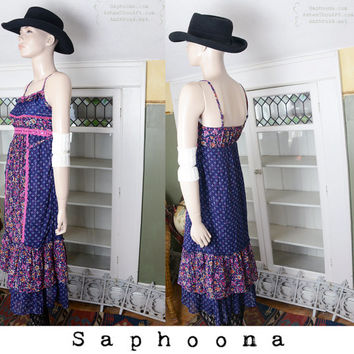 Vintage 60's 70's Gunne Sax vibe prairie maxi dress boho hippie festival summer sundress tiered India metallic ethnic empire waist summer