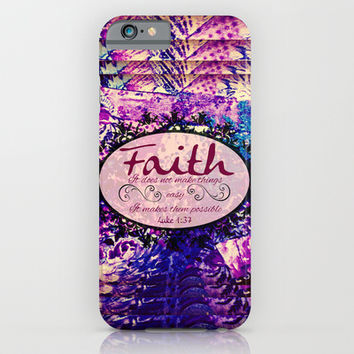 FAITH Colorful Purple Christian Luke Bible Verse Inspiration Believe Floral Modern Typography Art iPhone & iPod Case by The Faithful Canvas