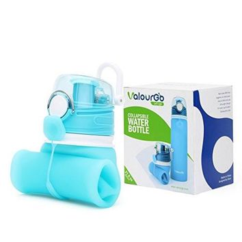 Collapsible Water Bottle - Silicone Foldable with Leak Proof Valve BPA Free, 21 Ounce
