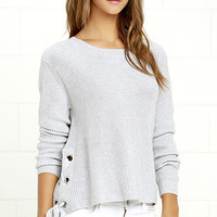 Laced in Love Grey Sweater