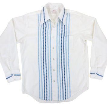 Vintage Button Down Shirt with Blue Stripes - Western Embroidered White Dress Oxford Shirt - Men's Size 16 - 34 Large Lrg L