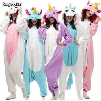 ac DCCKO2Q Unicorn Pajama Sets Kigurumi Christmas Costume Cosplay Party Adult Kids Animal Onesuit Winter Nighte Sleepwear For Women