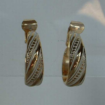 Segal L H Hoop Earrings Clip Ons White Enamel Vintage Jewelry