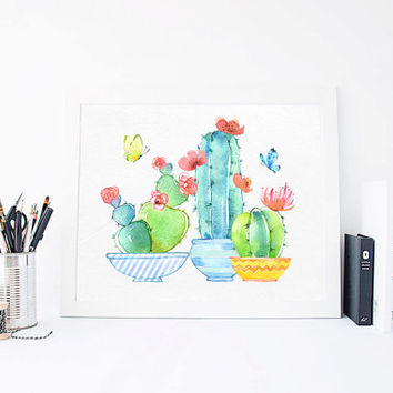 Cactus, Succulent, Butterflies, Plant Garden Art, Aquarelle Flowers, Positive, Inspirational Print Printable, Watercolor, DOWNLOAD 8x10