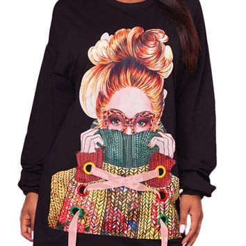 Black Sweater Girl Graphic Sweatshirt Dress