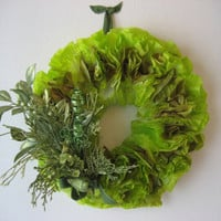 Lime Green Wreath, Paper Wreath, Coffee Filter Wreath, Full Fluffy Wreath, Colorful Wreath, Door Wreath Wreath with Bird, Green Wreath