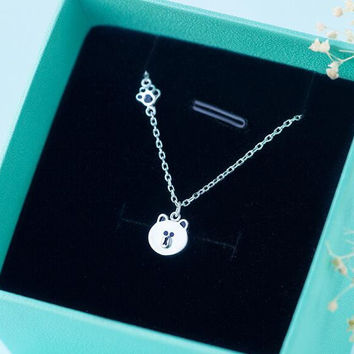 womens girls unique cute bear necklace 925 sterling silver Christmas gifts 83