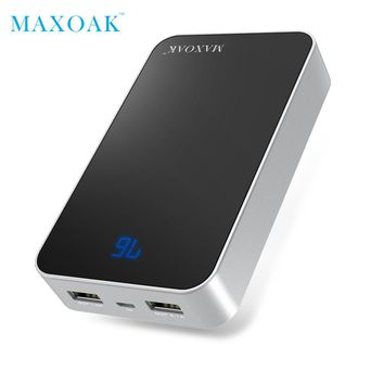 MAXOAK 13000mAh 18650 power bank Dual USB best external battery and LCD display portable charging battery for phone and tablet