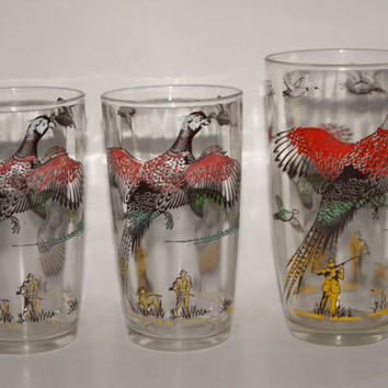 Lot Of 3 Hazel Atlas PHESANT PATTERN Glasses Form 1950s Featuring Two 8 ounce tumblers And One 10 ounce Tumbler