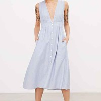 Kimchi Blue Plunging Button-Down Midi Dress