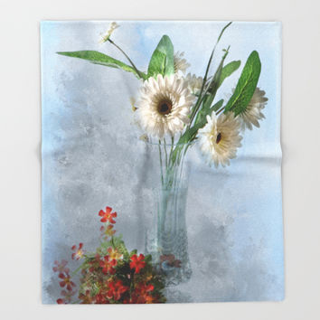 Wildflower Still LIFE Throw Blanket by Theresa Campbell D'August Art