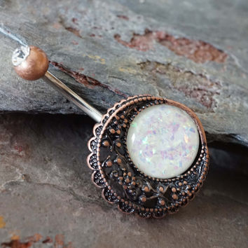 Belly Button Rings Opal Copper Moon