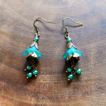 Teal Bronze Earrings, Bohemian Flower Earrings, Spring Jewelry, Dangle Flower Earrings, Woodland Wedding Jewelry