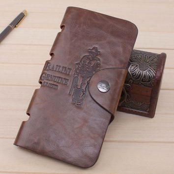 Vintage Mens Long Leather Card Holder Trifold Wallet