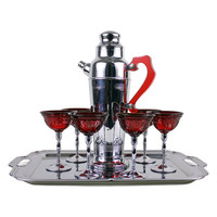 Art Deco Cocktail Shaker Ruby Red Cocktail Stems Chrome Bar Tray