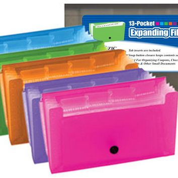 BAZIC 13-Pockets Coupon/Personal Check Size Expanding File Case Pack 24