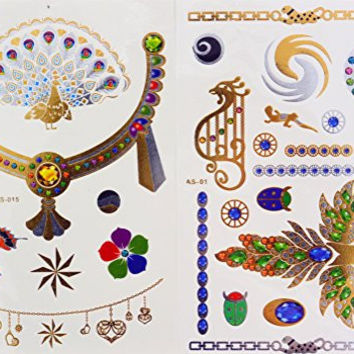 New Fashion, Dalin Blingbling Gold Silver Blue Temporary Metallic Tattoos Hand Chain Body Jewelry, Peacock Set