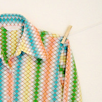 Vintage. 70's. Button Up Shirt. Multicolored. Ombre Checkered Print. Vertical Stripes. Collar. Cuffs. Retro. Funky. Medium Large M L