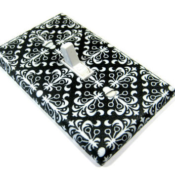 Light Switch Cover Black and White Damask Squares Switchplate Switch Plate Outlet