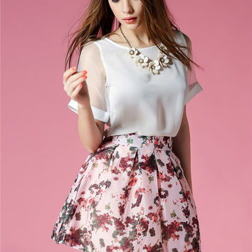 White Lace Sleeved Blouse and Floral Print Pleated Skater Skirt