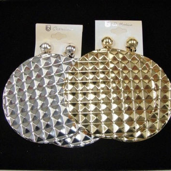 3.25 Inch Clip On Round Disk Big Jumbo Large Earrings