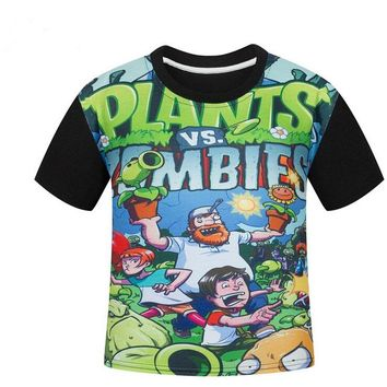 Plants vs Zombies Tees Clothing Children Boys T-shirts Kids Children cotton t shirt Infantis vetement Summer shirt