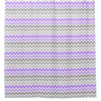 Purple Grey Gray Ombre Chevron Girl Shower Curtain