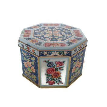 Vintage Daher Decorated Ware Tin Box, Octogon,  Floral Design, Lidded Box, Candy Box, White Blue Orange, Gold, Made in England
