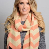 Peach Chevron Knit Scarf