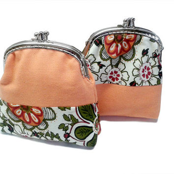 Wallet - Double Coin Purse with cards slot - Clutch Purse - Double Pockets - Silver Frame