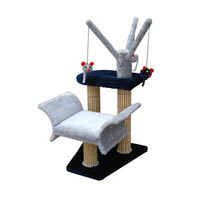"Penn Plax 16"" Lounger with Tree and Bamboo Post Cat Tree in Navy/Gray"