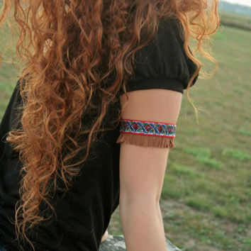 Indian Upper Arm Bracelet Cuff, Native American Inspired, Boho and Free People Style, Fringe and Trim