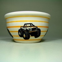 small bowl monster truck II pinstriped creamsicle by CircaCeramics