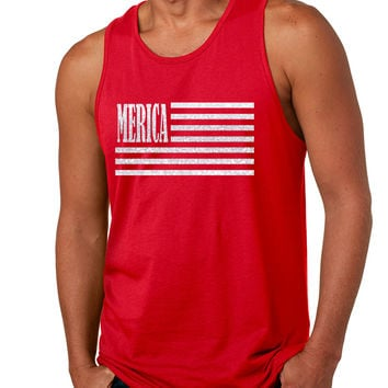 Men's Tank Top Merica Glitter White Flag 4th Of July Top