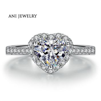 ANI 18K White Gold (AU750) Women Wedding Ring 0.59 CT Certified I/SI1 Real Diamond Jewelry Halo Heart Lady Rings Fashion Design