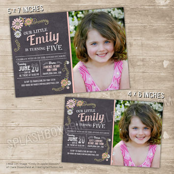 Chalkboard Floral Invitation Printable Daisies Birthday Invitation - flowers birthday invite pink and white flower announcement photo card