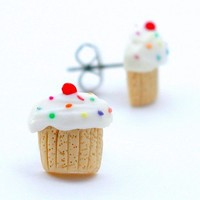 birthday cupcake stud earrings