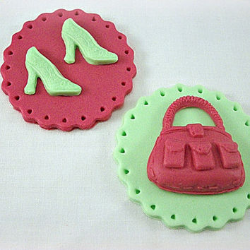 12 Fashion Cupcake / Cookie Fondant Toppers, High Heels and Purse, Fashion Party, Fashion Birthday, Girl Party, Bridal Shower, Mother's Day