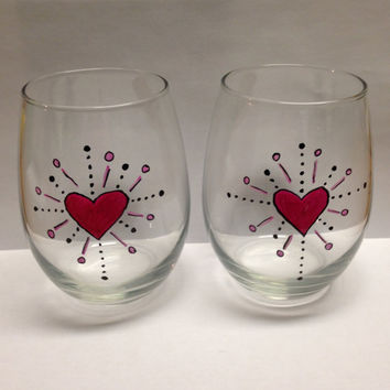 Wine Glass Tumblers - Hand Painted Wine Glass Tumblers - Painted Wine Glasses - Heart Themed Wine Glasses - Valentines Day Wine Glasses