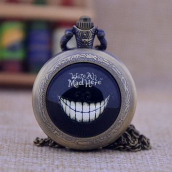 New Arrivals Alice in Wonderland We're All Mad Here Quartz Pocket Watch Pendant Necklace Mens Womens Pocket Watch