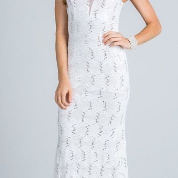 Off White Sleeveless Fit and Flare Evening Gown with Illusion Inset