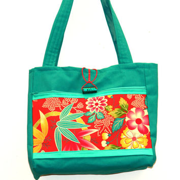 Green tropical dream Handmade Tote Bag